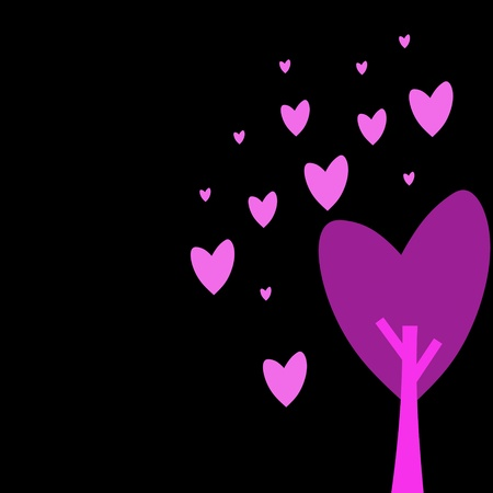 Pink heart tree  Illustration of a cartoon Stock Illustration - 13082541