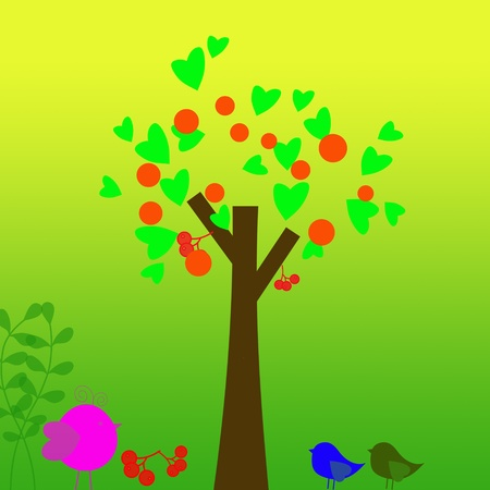 Family of birds and trees Illustration of a cartoon family of birds and trees Stock Illustration - 13082529