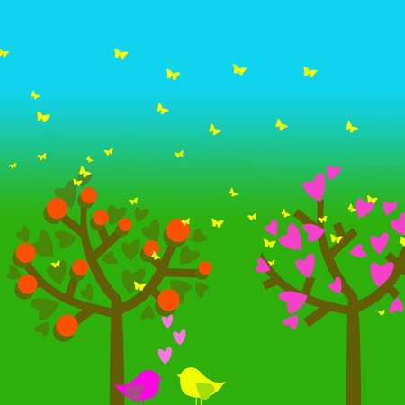 The birds are pleated and trees Illustration  Stock Illustration - 13082537