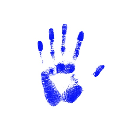Blue trace of a human hand on white background  photo