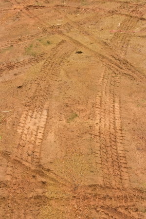Tire marks on the ground photo