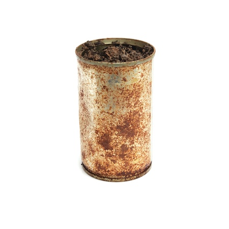 Rusty cans  Soil for planting Stock Photo - 13973018