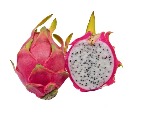 Vivid and Vibrant Dragon Fruit isolated against white background. photo