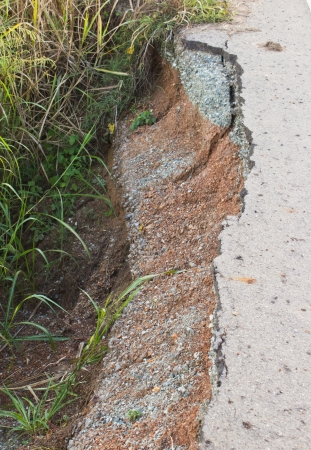 Road crack because of water erosion  photo