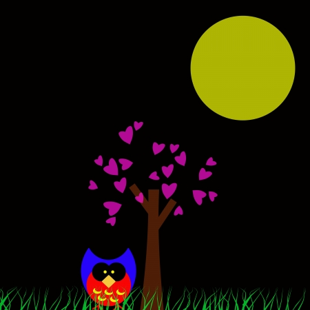 Owl in tree cover in the full moon. Stock Photo - 14469641