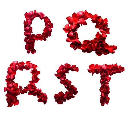 Alphabet letter P - T made from red petals rose isolated on a white background photo