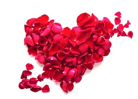 romantico: Rosas rojas del corazón con bordado flecha. Foto de archivo