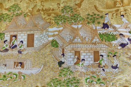 tissu soie: Mode de vie des personnes pass�es tha�landaises sur le tissu de soie thai �ditoriale