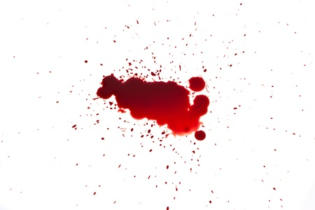 drop of blood isolated on white background close up photo