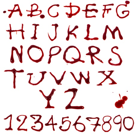 Letters A-Z and 1-10 dripping with blood on white background photo
