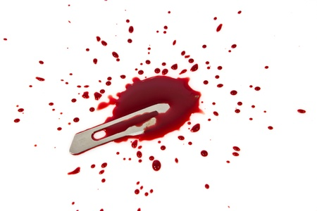 bloody blade with blood splatter isolated on white Stock Photo - 15497460