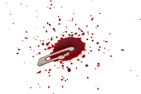 bloody blade with blood splatter isolated on white Stock Photo