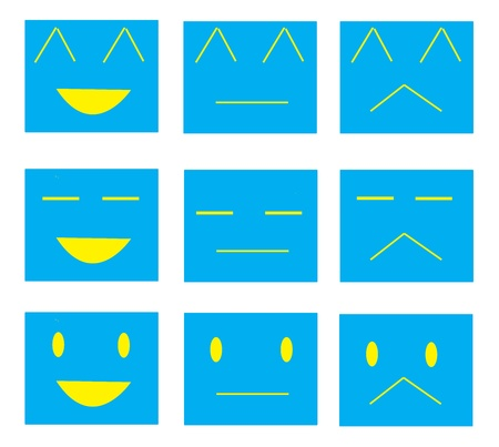Set of faces with various emotion expressions photo