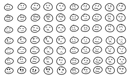 feelings of happiness: An icon set of doodle cartoon faces in a variety of expressions. Stock Photo
