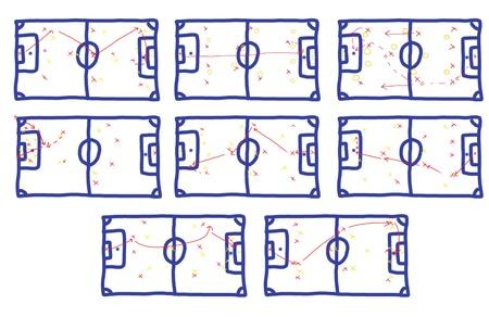 Many teamwork Football Game Plan Strategy on Whiteground Stock Photo - 15773724