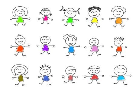 ethnicity happy: Cute happy cartoon kids Stock Photo