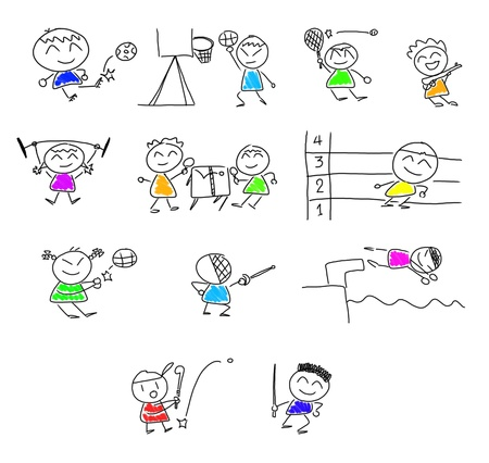 many cute cartoon play  sport. photo