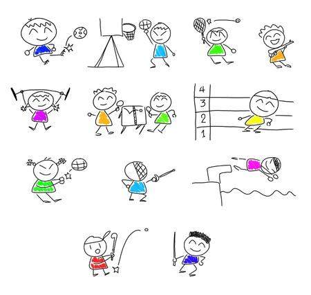 fencing: many cute cartoon play  sport.