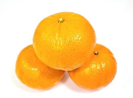 Tree tangerines isolated on white background Stock Photo - 16003750