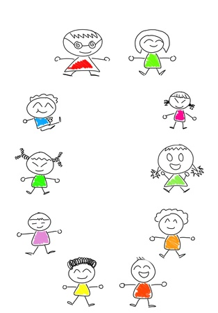 Cartoon numbers 0 and many children Stock Photo - 16138349