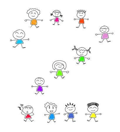 Cartoon numbers 2 and many children Stock Photo - 16138354