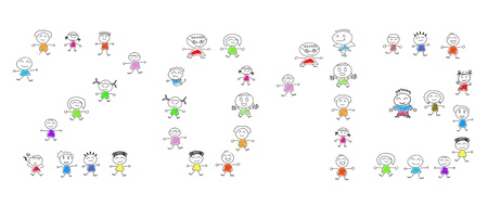 Cartoon numbers 2013 and many children photo