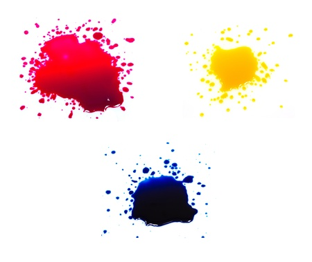 Primary colors ink drops on a white background  photo