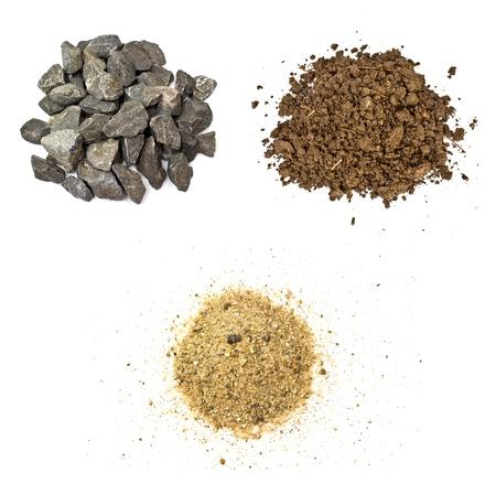石、土、砂白い背景の上