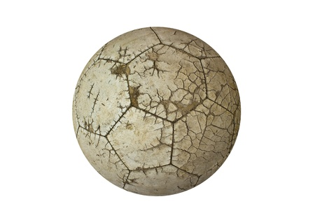 raged: Ball old used white for soccer or football