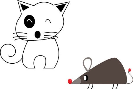 Cartoon cute cat and rat   isolated on white background photo