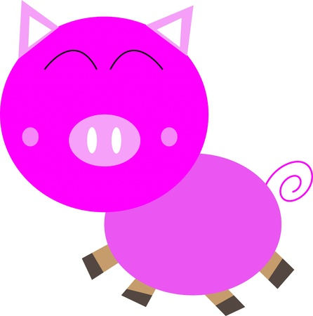 Cartoon cute pink Pig  isolated on white Stock Photo - 17800583