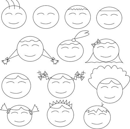 Thirteen human (boy and girl) comical faces Stock Photo - 17800594