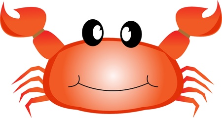 crustacea: Smiling red sea crab with claws.illustration