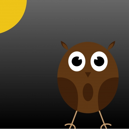 a cute Brown Owl under the Moon Stock Photo - 17947315