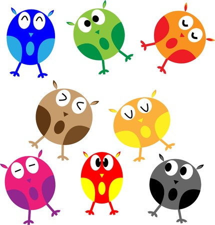 Set of eight cartoon owls with various emotions photo