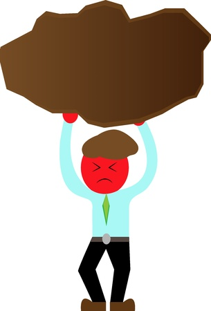 upward struggle: Cartoon Businessman carrying a stone.Concept of hard work.
