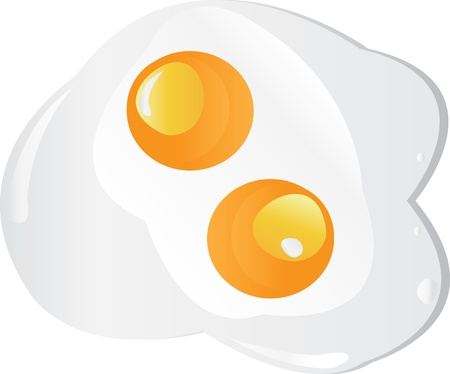 Fried egg twins on a white background. Vector photo