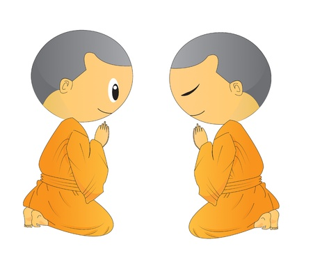 begging: illustration of two Cute Begging young monk cartoon,use in advertising, presentations, brochures, blogs, documents and forms, etc.
