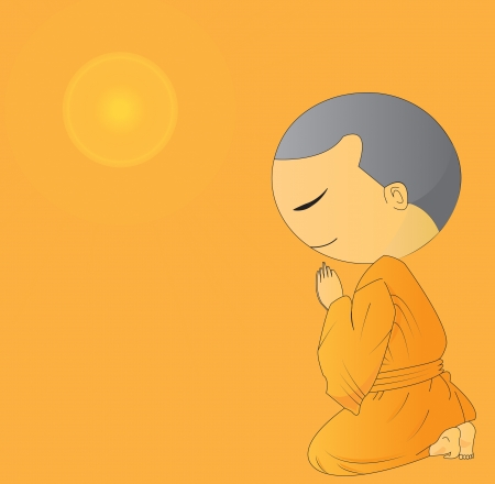 illustration of Cute Begging young monk cartoon,use in advertising, presentations, brochures, blogs, documents and forms, etc. illustration