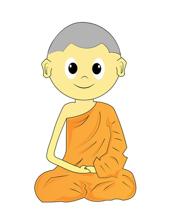 Buddhist Monk cartoon on a white background Stock Photo - 18656588