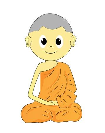 Buddhist Monk cartoon on a white background Stock Photo - 18656588