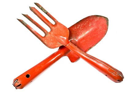 shove: Gardening tools on a white background(Fork shoveling and shove ) Stock Photo
