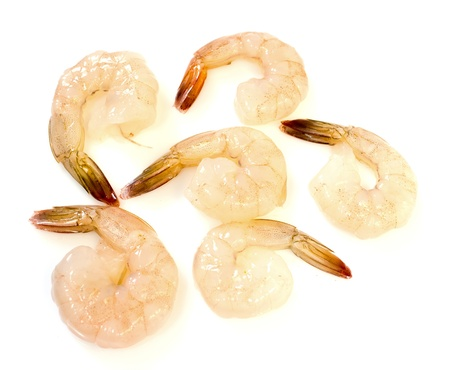 Peeled shrimp on white background Foto de archivo