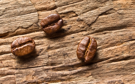 Fresh coffee beans in   on wood background photo