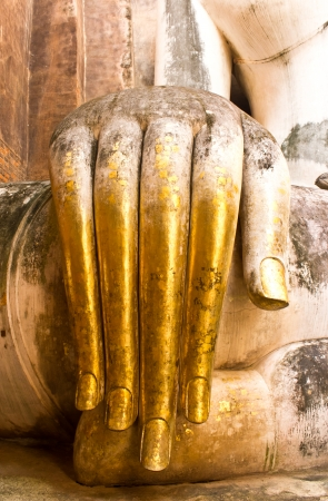 the hands of the Buddha.Sukhothai historical park, the old town of Thailand in 800 year ago