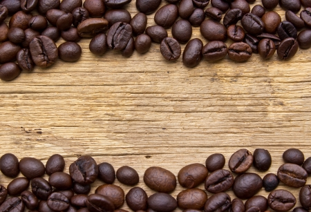 coffeetree: Fresh coffee beans on wood, ready to brew delicious coffee