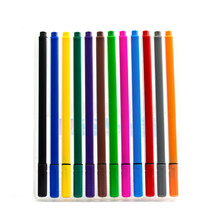 Multicolored Felt-Tip Pens on white background photo