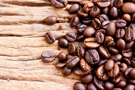 coffeetree: Coffee on grunge wooden background Fresh coffee beans on wood