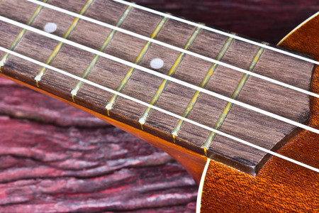 diapason: ukulele on wood background