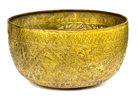bronze bowl: Old antique vintage bronze, brass bowl, isolated on white background